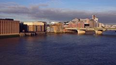 Southwark Bridge at sunrise Stock Footage