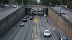 Traffic on a dual carriage way in the city Stock Footage
