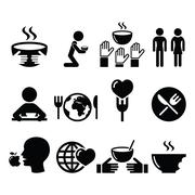 Hunger, starvation, poverty icons set Stock Illustration
