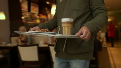 Men Bringing a Coffe with Biscuits in Cafe Stock Footage