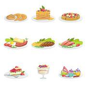 European Cuisine Food Assortment Menu Items Detailed Illustrations - stock illustration