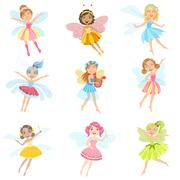 Cute Fairies In Pretty Dresses Girly Cartoon Characters Set Stock Illustration