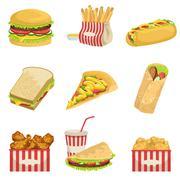 Fast Food Menu Items Realistic Detailed Illustrations - stock illustration