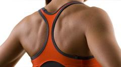 Fitness girl make exercises in white studio Stock Footage