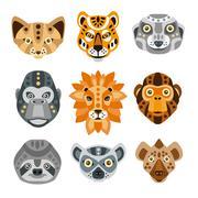 African Animals Stylized Geometric Heads Set Stock Illustration