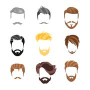 Male Hairstyle Constructor For Face Set - stock illustration