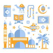 Muslim Religious Holiday Symbols Set - stock illustration
