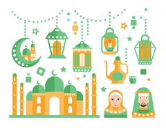 Islamic Religious Holiday Symbols Set Stock Illustration