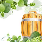 Wooden beer barrel  and hops on white Stock Illustration