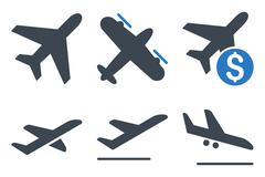 Aviation Flat Vector Icons Stock Illustration