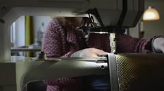 Leather sewing machine Stock Footage