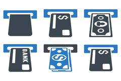 Banking ATM Flat Vector Icons Stock Illustration