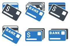 Banking Cards Flat Vector Icons Stock Illustration