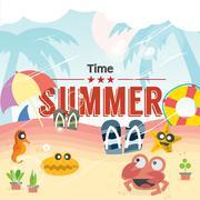 Summer Time Vector Illustration Stock Illustration