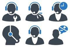 Call Center Operator Flat Vector Icons Stock Illustration