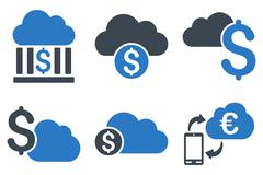 Cloud Banking Flat Vector Icons Stock Illustration