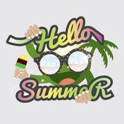 Hello Summertime Badge Design Vector Illustration Stock Illustration