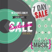 Vinyl Exclusive Sale 7 Days Only For Music Lover Promotion Banner Template Ve Stock Illustration