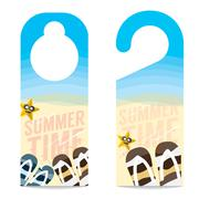 Flipflop And Star Fish On The Beach Summer Vacation Concept Door Hanger Vecto Stock Illustration