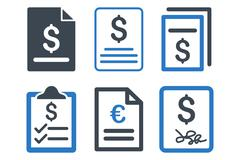 Invoice Flat Vector Icons Stock Illustration