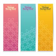 Vertical Banner Set Of Three Vintage Graphic Theme Vector Illustration Stock Illustration
