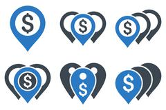 Money Map Markers Flat Vector Icons - stock illustration