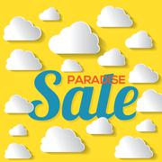 Paradise Sale With White Clouds On Yellow Background Vector Illustration Stock Illustration