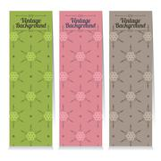 Set Of Three Vintage Oriental Style Vertical Banners Vector Illustration Stock Illustration