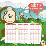 Cute Monkeys 2017 Calendar Starts Sunday Vector Illustration Stock Illustration