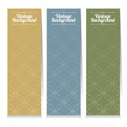 Vertical Banner Set Of Three Vintage Graphic Theme Vector Illustration Stock Illustration
