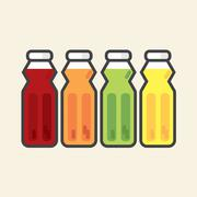 Set Of Colorful Fruit Juice Bottles Healthy Refreshment Vector Illustration Stock Illustration