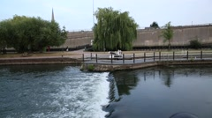 Thames River flowing through an English city Stock Footage