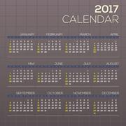 2017 Printable Calendar Starts Sunday Grid Graphic Vector Illustration Stock Illustration