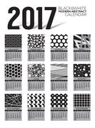 Modern Abstract 2017 Printable Calendar Starts Sunday Black And White Graphic Stock Illustration