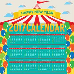 2017 Printable Calendar Starts Sunday Circus Concept Vector Illustration Stock Illustration