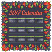 2017 Printable Calendar Starts Sunday Red Flowers Border On Dark Blue Backgro Stock Illustration