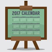 2017 Printable Calendar 12 Months Starts Sunday. Art or Study Concept Vector Stock Illustration