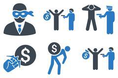 Thief Arrest Flat Vector Icons Stock Illustration