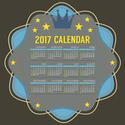 2017 Printable Calendar 12 Months Starts Sunday Vector Illustration Stock Illustration