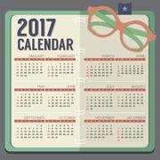 Flat Design Eyeglasses On Notebook 2017 Printable Calendar Starts Sunday Vect Stock Illustration