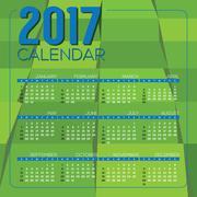 Modern Green Geometrics 2017 Printable Calendar Starts Sunday Vector Illustra Stock Illustration