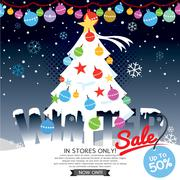 Decorated Christmas Tree Winter Concept Up To 50 Percent Sale Template Vector Stock Illustration