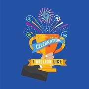 1 Million Likes Celebration Vector Illustration Stock Illustration