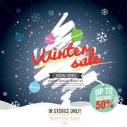Winter Sale 50 Percent Banner Vector Illustration Stock Illustration