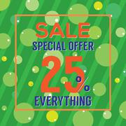 Special Offer 25 Percent On Colorful Green Bubbles And Stripes Vector Illustr Stock Illustration