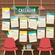 2017 Calendar Starts Sunday Library Concept Vector Illustration Piirros