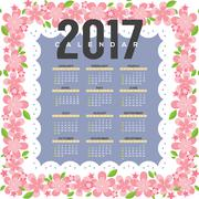 2017 Printable Calendar Starts Sunday Pink Flowers Border Vector Illustration Stock Illustration