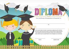 Preschool Elementary School Kids Diploma Certificate Background Design Templa Piirros