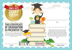 Preschool Elementary School Kids Diploma Certificate Background Design Templa Piirros