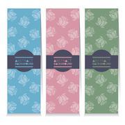 Modern Design Set Of Three Vertical Banners Rose Graphic Vector Illustration Stock Illustration
